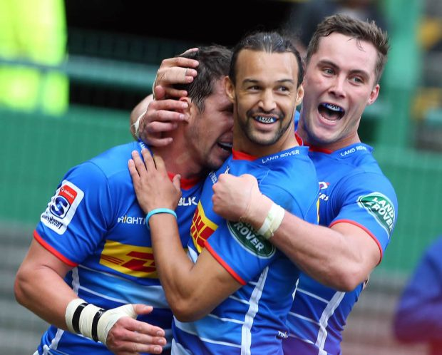 Dillyn Leyds and Dan Kriel of the Stormers during a Super Rugby