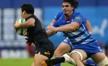 Matias Orlando of Jaguares is tackled by Jaco Coetzee of Stormers during a match between Jaguares and Stormers as part of Super Rugby round 12 at Jose Amalfitani Stadium on May 4, 2019 in Buenos Aires, Argentina.