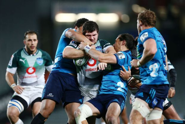 Marco van Staden of the Bulls on the charge during the round 16 Super Rugby match between the Blues and the Bulls at Eden Park