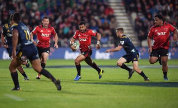 Richie Mo'unga of the Crusaders against the Highlanders in their last meeting