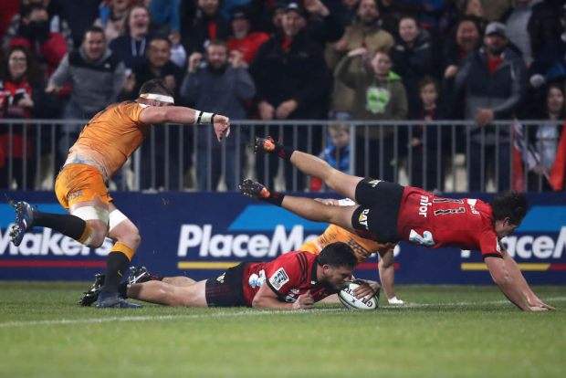 Codie Taylor of the Crusaders scores a try