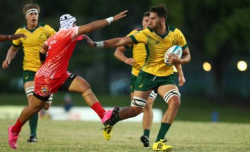 Trevor Hosea of Australia makes a break during the 2018 Oceania Rugby U20 Championship match between Australia and Tonga at Bond University on May 1, 2018 in Gold Coast, Australia.