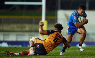 Henry Taefu of Western Force is tackled during the round 4 Super Rugby AU match between the Western Force