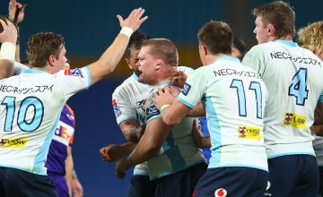 Tom Robertson celebrates a scrum-penalty as the Waratahs beat the Western Force 8-28 at Cbus Super Stadium in Robina on the Queensland Gold Coast