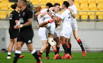 Will Jordan celebrates his match-winning try for the South versus the North in New Zealand's Inter-Island clash at sky Stadium, Wellington
