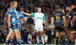 Referee Mike Fraser makes a call during the round 10 Super Rugby Aotearoa match