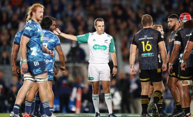 Referee Mike Fraser makes a call during the round 10 Super Rugby Aotearoa match between the Blues and the Chiefs