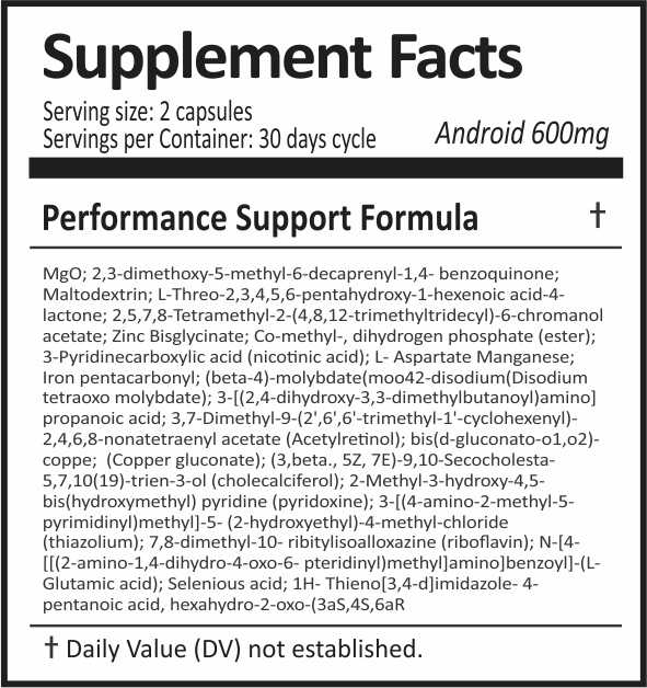 Android 600 - Informação Nutricional