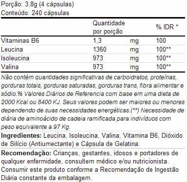 bcaa integralmedica - Tabela nutricional