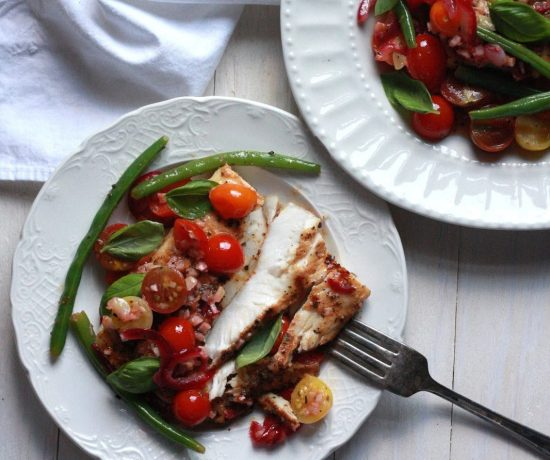 Grilled Blackened Mahi Mahi Topped with Tomato and Green Bean Scampi