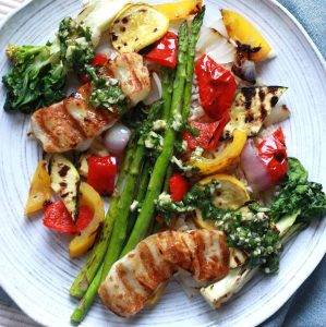 Grilled Vegetables and Halloumi Cheese with Chimichurri Sauce