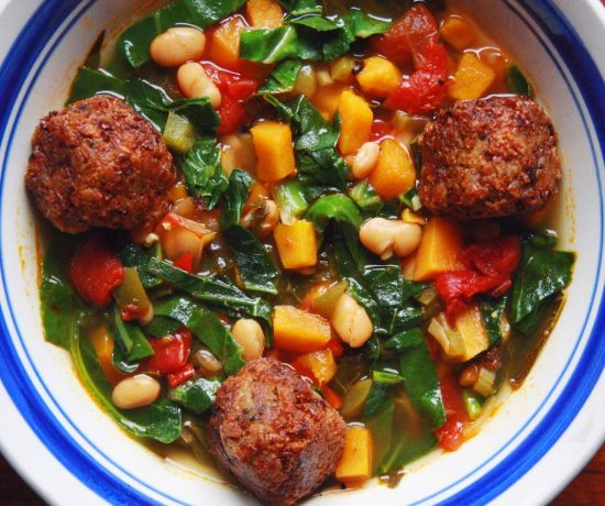 Collard Green, Sweet Potato, and White Bean Soup with Vegan Meatballs