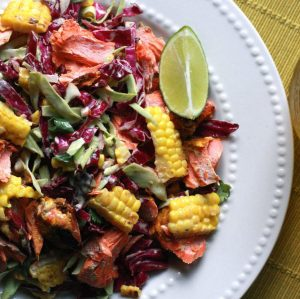 BBQ Wild Caught Salmon and Grilled Cob Slaw Salad