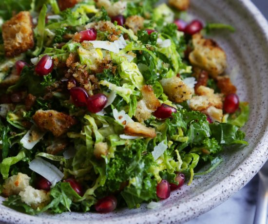 Brussel Sprout and Kale Salad with Mustard Croutons - Supper With Michelle