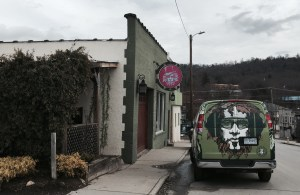 The storefront of Green Man Brewery on Braxton Ave in Asheville, NC.