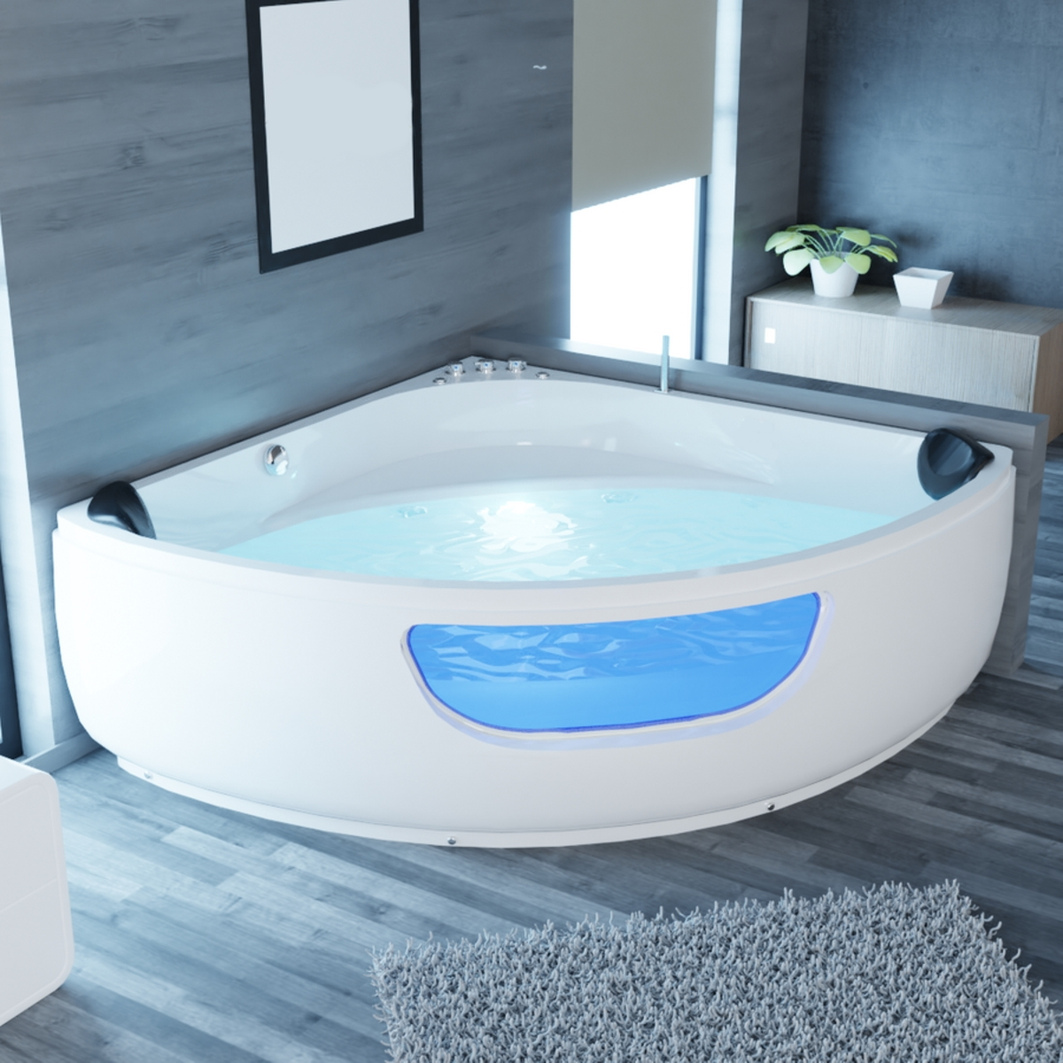 Whirlpool Badewanne 135 X 135 150 X 150 Cm Eckwanne Fur 2 Personen Mit Led Armaturen Gunstig Supply24