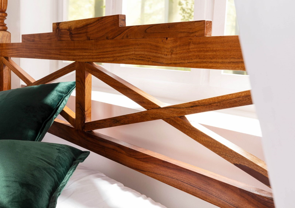 wooden four poster bed 180x200 cm made of acadia wood nougat or honey with white cover