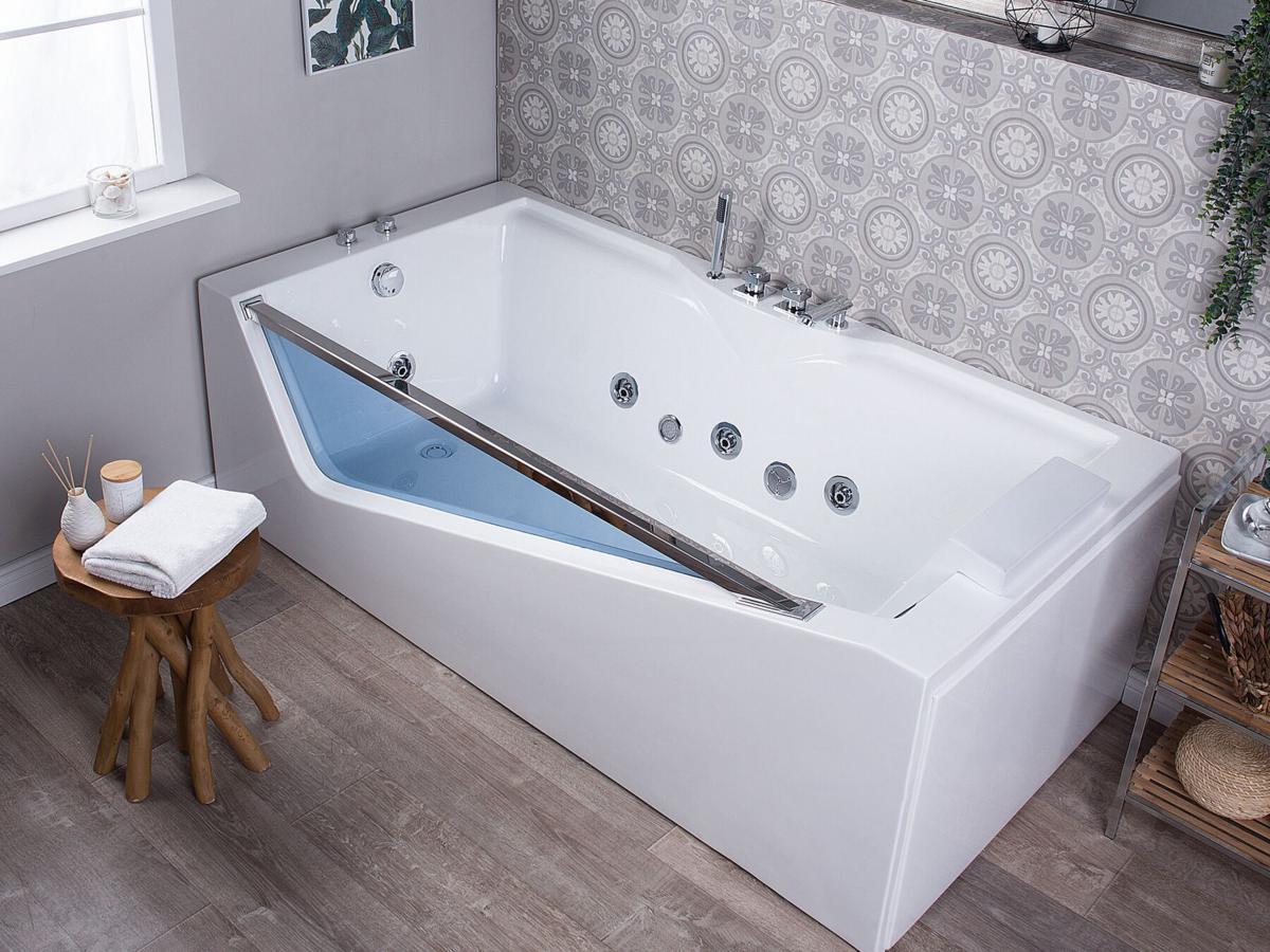 Whirlpool Badewanne 180 X 90 Cm Mit 6 Massage Dusen Led Beleuchtung Glas Fur 1 2 Personen Gunstig Supply24