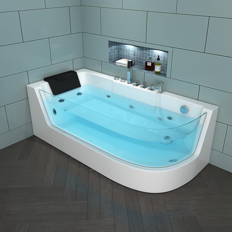 Whirlpool Badewanne 170x80 Cm Mit 4 Massage Dusen Mit Armaturen Glasfront Fur Badezimmer Supply24