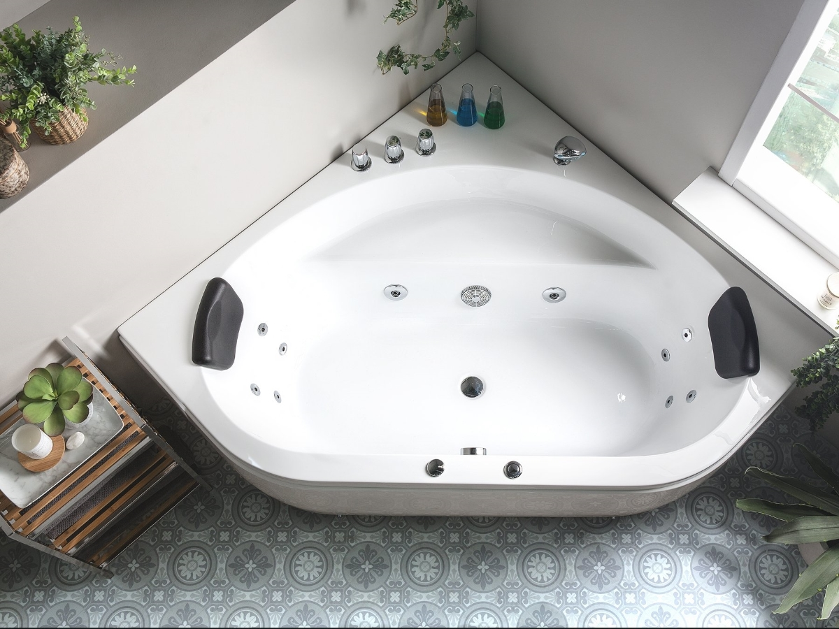Whirlpool Badewanne Malta 12 Massage Dusen Eckwanne Mit Led Massage Gunstig Supply24