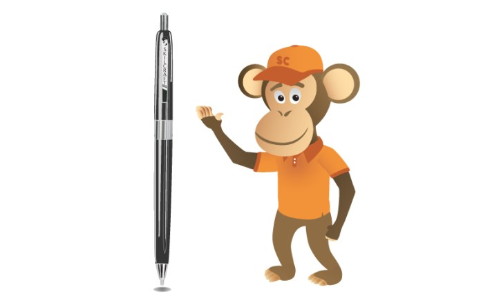 Photo of Supply Chimp's mascot, Jackson, standing beside the SKILCRAFT US Government Pen.