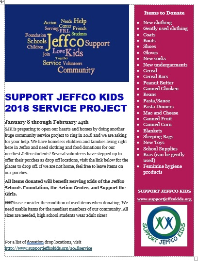 2018 SJK Community Service Project | Support Jeffco Kids