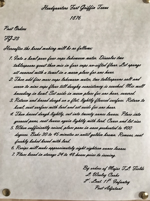Bread Recipe At Fort Griffin