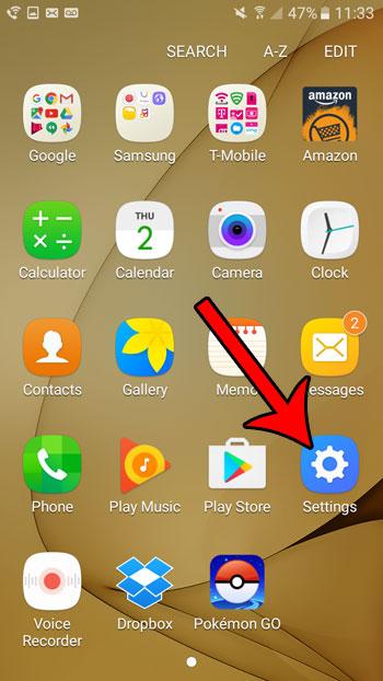 open the galaxy on5 settings menu
