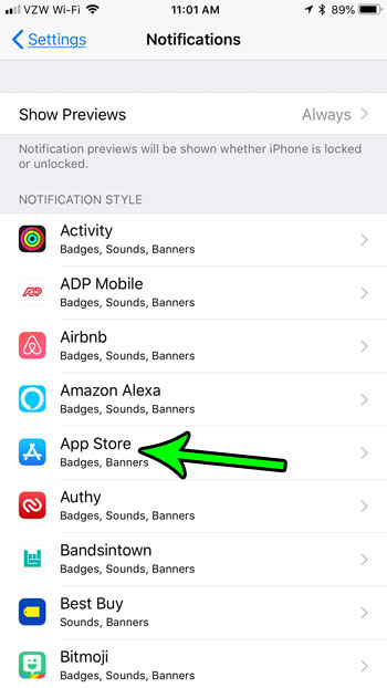 select the app to change badge app icon setting