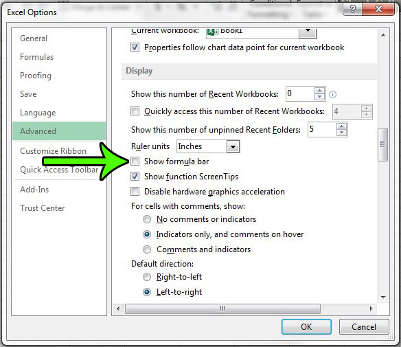 excel 2013 how to remove formula bar