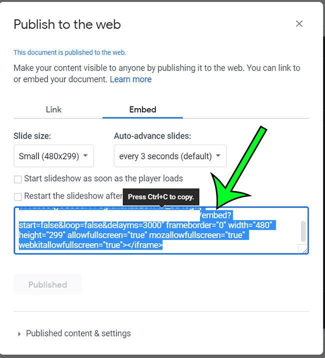 copy the google slides embed code