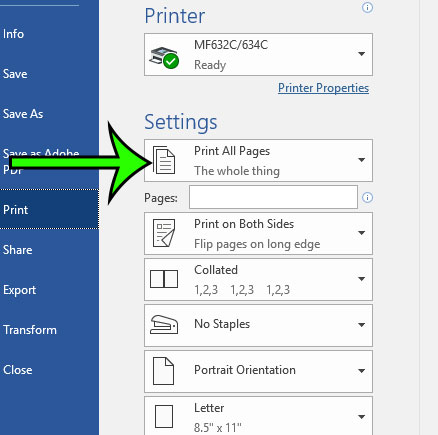 how to stop printing comments in word