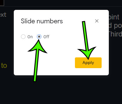 how to remove slide numbers in google slides