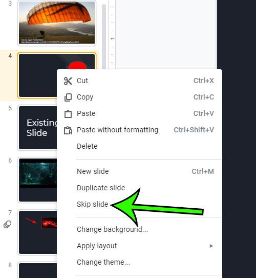 how to skip a slide in google slides