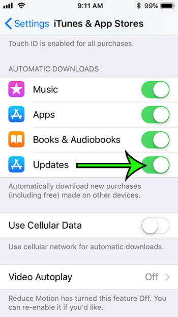 enable automatic app updates on iphone 5c