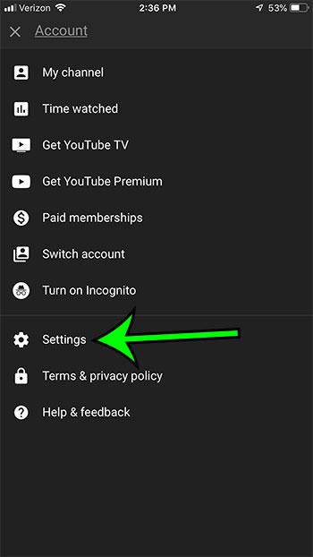 open youtube iphone settings