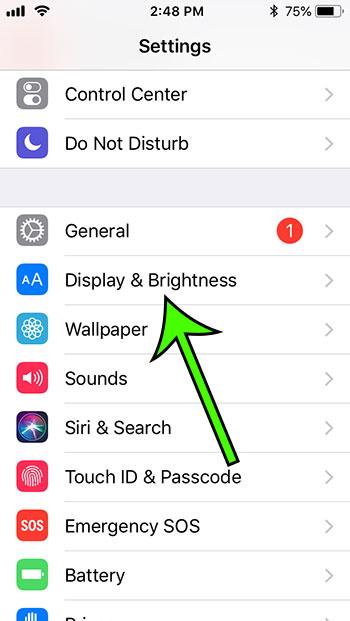 iphone 5 display and brightness menu