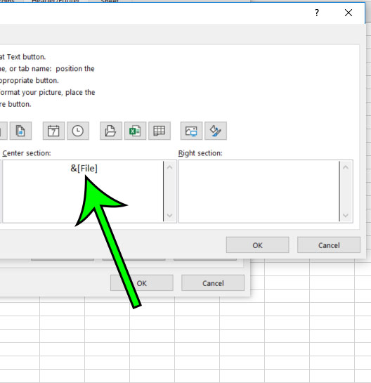 file name has been added to header in excel