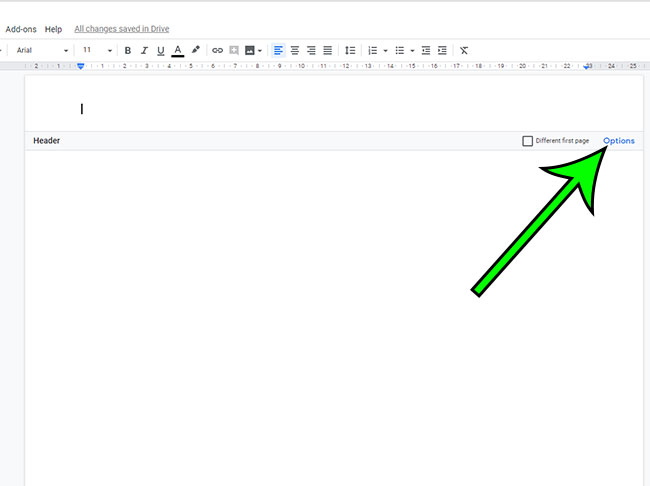 open google docs header options