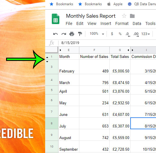 how to unhide a row in google sheets