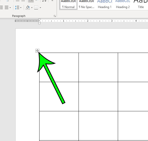 select the entire table in microsoft word
