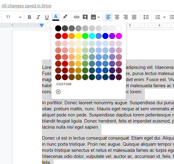 how to change the color of all text in a Google Docs document