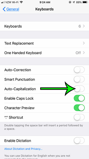how to stop automatically capitalizing words on an iPhone 7
