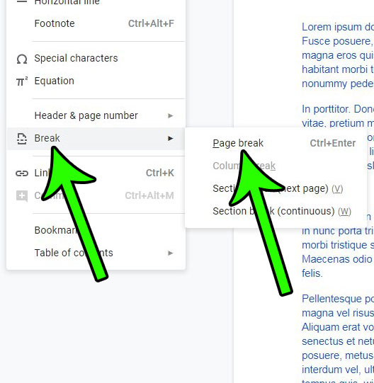 how to make a new page in Google Docs
