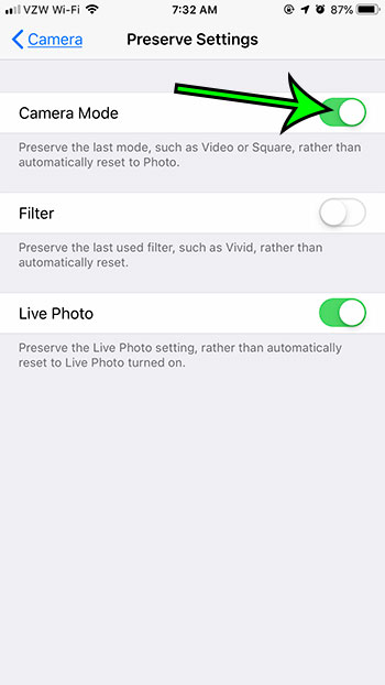 select the Camera Mode option