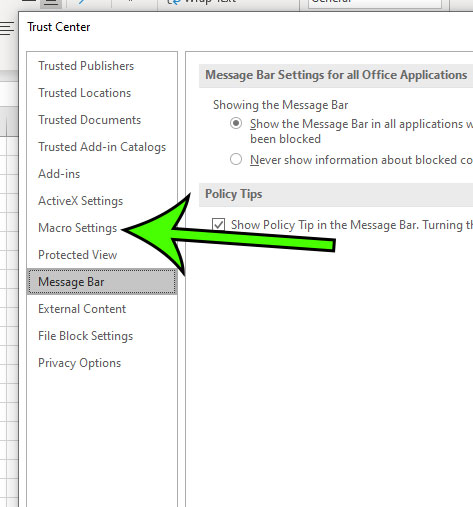select the Macro Settings tab