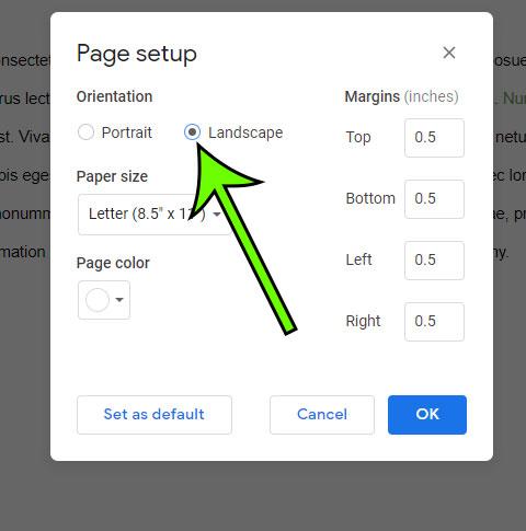 How to make Google Docs landscape