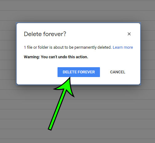 how to permanently delete a document from Google Drive