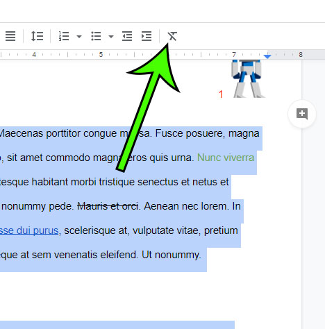 how to clear formatting in Google Docs