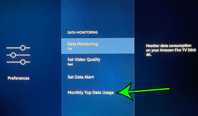 open the Monthly Top Data Usage menu